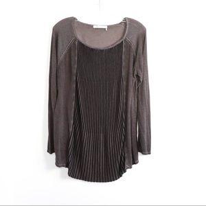 Monari knit pleated front stretch linen luxury euc